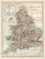 Map of England & Wales Counties British W & AK Johnston 1902 Original Antique