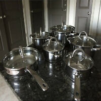 Induction Cookware Set Cooking Pan and Pots Nuwave Cooktop Ready Stainless Steel