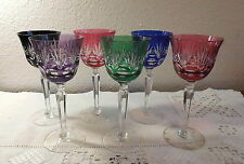 """6 BOHEMIAN GERMAN IMPERLUX CUT TO CLEAR MULTI COLOR 7 7/8""""  CRYSTAL GOBLETS"""