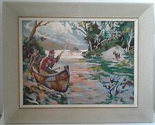 Pair of Vintage Paint by Number Paintings - Hunting theme - Period 1950's Frames