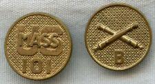 Pair of 1920's Mass. National Guard 101st Field Artillery, Co. B Collar Disks