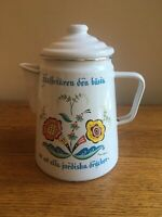 "Vintage BERGGREN Swedish 9"" Tall Enamel Coffee Pot; Red/Yellow Flowers"
