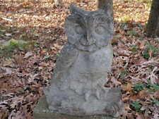 """Vintage Cement 14"""" Owl Garden Statue lichen Weathered Concrete Very Nice"""
