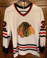 CCM Maska Chicago Blackhawks NHL Hockey Jersey White Men M Steve Thomas 32 80s