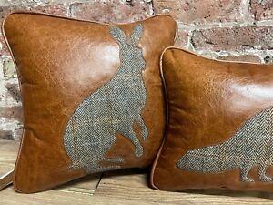 "Leather With Harris Tweed Hare Cushion 17"" X 17"""
