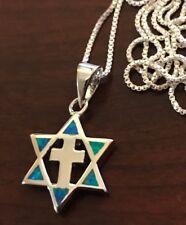 "Star Of David Cross Pendant Sterling Silver Blue Opal 18"" Silver Necklace"