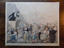 1791 Boyne CARICATURE lectures tragique Théâtre Antique Vieux Gravure acteur de drame