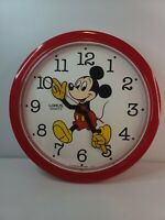 "Vintage Lorus Disney Mickey Mouse Wall Clock Red 10"" Quartz Japan"