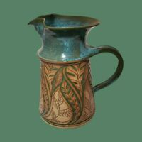 "Susan Brown Freeman Incised Leaf Design 10"" Water Pitcher Alabama Studio Pottery"
