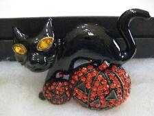 """HEIDI DAUS """"Hallos-Eve"""" Black Enamel/Crystal Halloween Cat Pin (Orig.$129.95)"""