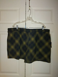 New Men Khaki Green Pendelton Plaid Flannel Pajama Bottoms Shorts Size XXL