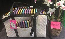 NEW! Betsey Johnson RAINBOW Weekender Luggage Travel Crossbody Wristlet 2 Pc SET