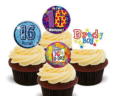 16th Birthday Boy Edible Cupcake Toppers, Stand-up Fairy Cake Decorations, Male