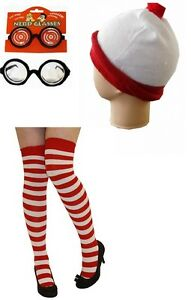 Red White Striped Socks Hat And Nerd Glasses For 80s & BooksDay Fancy Dress.