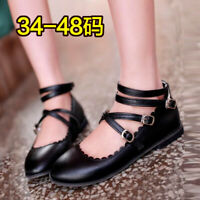 Womens Lolita Cross Buckle Strap Pointed Toe Flats Mary Janes Pump Cosplay Shoes