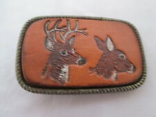 Vintage Buck & Doe Deer Etched Leather Belt Buckle Twisted Brass Tone Trim