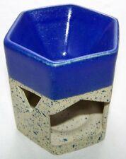 sechseckige Lámpara de fragancia Lucky Cerámica Natural/Azul Cobalto