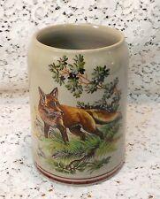 Vintage Heavy Ceramic 0.5L German Beer Mug Stein with Forest Fox Scene