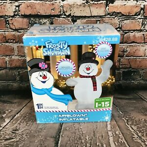 Frosty the Snowman Airblown Inflatable 5ft Tall Lights Up Christmas Decoration