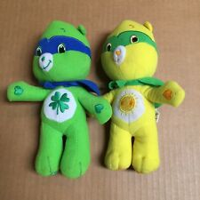 "Lot Of Two 2009 Care Bears Green & Yellow 8"" Inch Stuffed Bear by Nanco AR41"