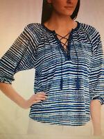 RALPH LAUREN CHAPS Women Sz M Blue White Tie Dye Knit PEASANT BLOUSE TOP Lace Up