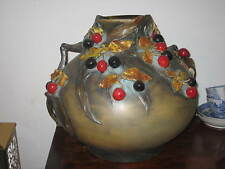 VERY LARGE ERNST WAHLISS TURN BOHEMIAN ART NOUVEAU VASE WITH LEAVES BERRIES DEC