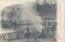 INDOCHINA Tonkin cho Bo dinner cooking near pirogues 1910s PC