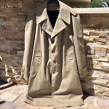 Mens Vintage Montgomery Ward Trench Coat Khaki Size 42