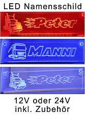 Trucker LKW Namensschild -LED- beleuchtet 12/24V - DAF SCANIA MAN RENAULT IVECO