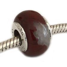 Poppy Jasper Sterling Silver Charm Bracelet Bead Large Hole Carlo Biagi BSSPS05