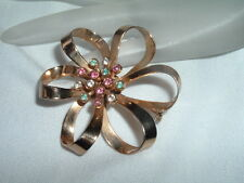 Vintage Signed Coro Pastel Rhinestone Goldtone Flower Brooch Pin in Gift Box