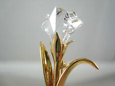 "Swarovski Crystal Flower Signed Swan Gold Tone Brooch Pin 1.75"" Tulip Floral"