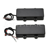 Humbucker Bridge and Neck Pickups Set for 4 String Bass Guitar Parts Black