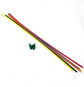 RC Car Receiver Aerial Tube Plastic Antenna Pipe Green Cap Mixed x 5 30cm Long