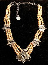 "Vintage Mary & Doug Hancock Sterling Silver & Freshwater Pearl 18"" Necklace"