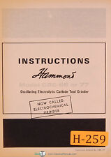 Hammond CBE-66, DBE-77, Elecrochemical Grinder, Instructions Manual 1968