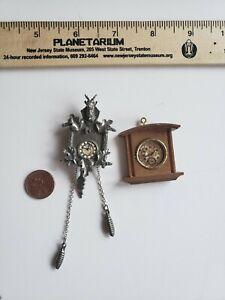 Vintage Dollhouse Miniature Wall Clock Lot Pewter Wood Cuckoo