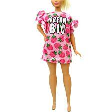 Barbie Fashion Oversize Pink Strawberry Pattern Dream Big Dress Curvy