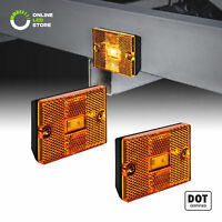 2pc DOT Stud-Mount Amber LED Side Marker Light for Utility Boat Trailers Over 80