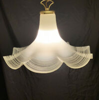 Vintage MURANO Italian Brass Art Glass Pendant Ceiling Light Chandelier Italy