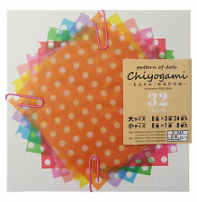 JAPANESE Origami Chiyogami 32 Sheets Two Sizes 8 Colours Spotty Pattern