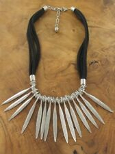 Silver Spike Leaf Necklace Black Multi Rows Suede Strands Lagenlook Jewellery