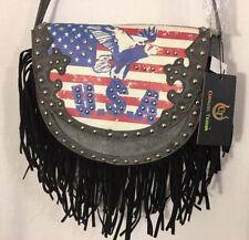 New listing Cowgirl Trendy Fringe Clutch Gray Black Crossbody Purse Silver Studs