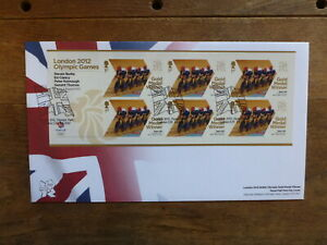 GREAT BRITAIN LONDON 2012 GOLD MEDAL MINI SHEET FDC-MENS TEAM PERSUIT, CYCLING