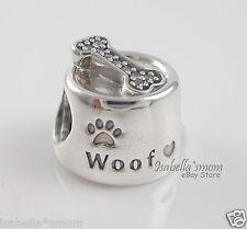 NEW Authentic PANDORA Silver/Cz Stones WOOF Dog/Pet BOWL w BONE Charm/Bead