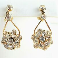 Screw Back Clip Vintage AB Rhinestones Earrings Floral Clear Layered Dangle Drop