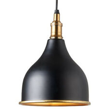 Industrial Ceiling Pendant Light–MATT BLACK & BRASS Shade–Hanging Lamp Holder