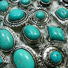 25pcs Turquoise Silver Plated Rings Women's Wholesale Jewelry Lots Free Shipping