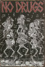 Plaque NO DRUGS en METAL tole cadre noir squelette musique décoration NEUF