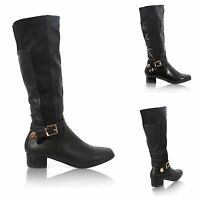 LADIES WOMENS ZIP UP KNEE STRETCH RIDING BLOCK HEEL BUCKLE BOOTS SHOES SIZE 3-8
